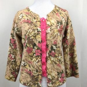 Free People Floral Cardigan Lambswool Rabbit Hair